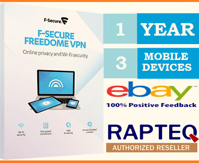 F-Secure Freedom VPN Privacy Protection 1 Year 3 MOBILE Devices VAT EMAILED