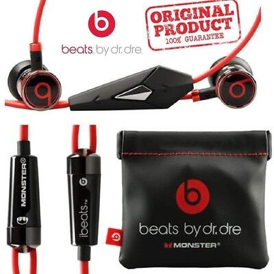 Genuine Monster Beats by Dr Dre iBeats In Ear Headphones Earphones Black