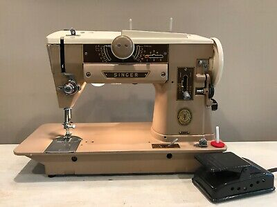 Beautiful 1950's Antique Working Singer Sewing Machine 401A With Foot Pedal USA