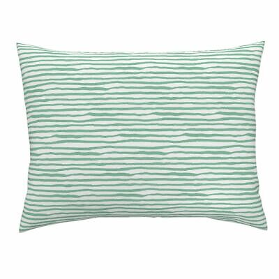 Uneven Striped She Is Fierce Green Stripes Mix Match Pillow Sham by Roostery