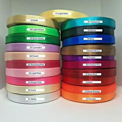 SATIN RIBBONS 6mm 10mm 15mm 20mm 25mm 40mm WIDTHS 16 COLOURS 99p
