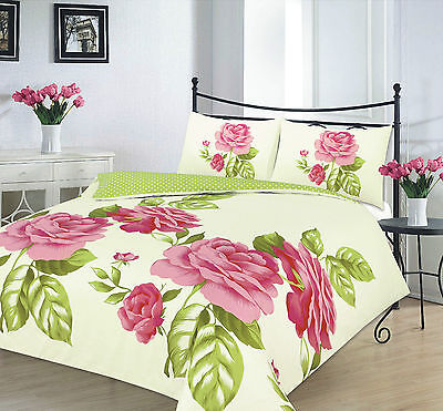Luxury Isabella Red Green Flower Duvet Cover With Pillow Cases Bedding Sets