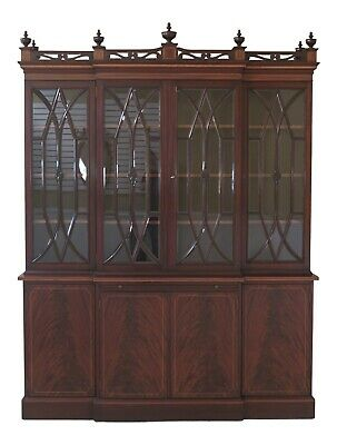 L23402EC: POTTHAST BROTHERS Vintage Mahogany Beveled Glass Breakfront