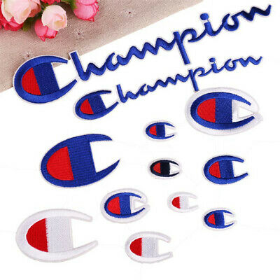 champion Logo Embroidery Badge Patch Sew Iron On Bag Jeans Applique Hat Craft