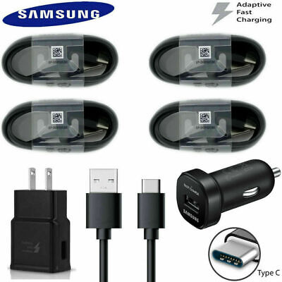 Genuine Samsung Galaxy S10 S9 S8 Note9 Fast Wall Car Charger + Type C Cord Cable