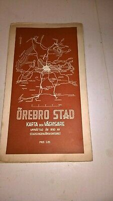 vintage 1950 fold out map orebro stad sweden
