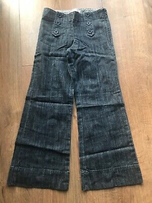 M&S Autograph Girls 100% Cotton Bootcut Blue Trousers - Age 8 Years