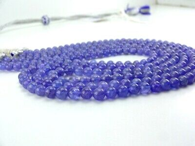 """392Cts AAA Stone Beads Natural Tanzanite Smooth Round Beads 5-6.5mm 17""""3 Strand"""