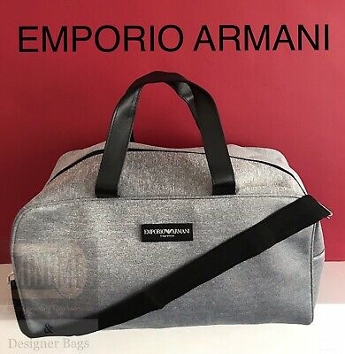 🆕EMPORIO ARMANI Weekend Travel Gym Duffle Bag GREY BRAND NEW SEALED!