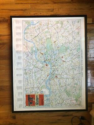Bartholomew Plan of Central London, 1939 Vintage Street Map w custom frame