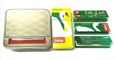 METAL ROLLING MACHINE CLOTH BLIND RIZLA SWAN ZIG ZAG PAPERS with CIG FILTER TIPS