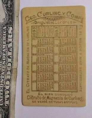 Antique 1893 Magnesium citrate calendar UK advertising apothecary CURLING card