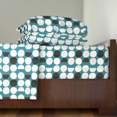 Moon Geometric Circles Phases Sky 100% Cotton Sateen Sheet Set by Roostery