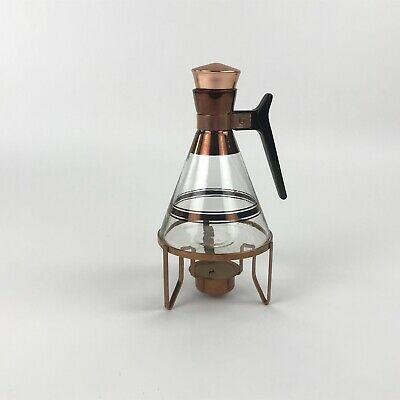 Vintage Inland Glass Coffee Carafe with Metal Warmer Features Copper Trim MCM