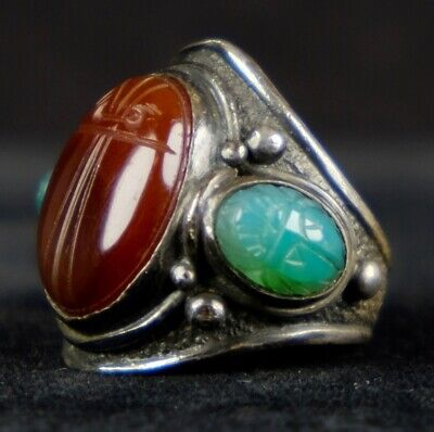 Vintage Huge Egyptian Revival Sterling Scarab Ring Carnelian & Green Onyx ER1224
