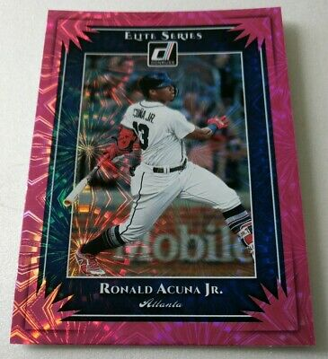 2019 Donruss Elite Series #ES1 Ronald Acuna Jr. Pink Fireworks
