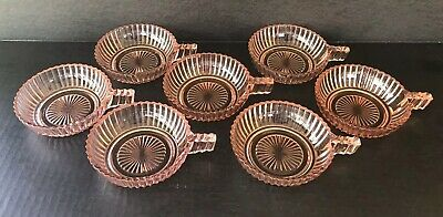 Anchor Hocking Queen Mary Pink Depression Glass Berry Bowls With Handles Set 7
