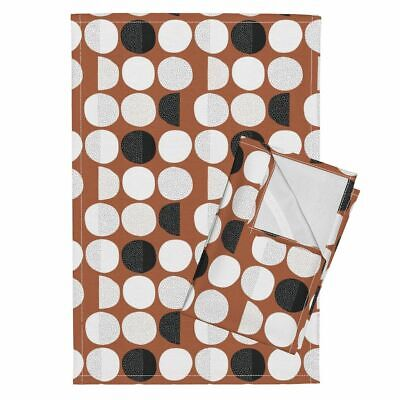 Moon Abstract Moon Phase Geometric Linen Cotton Tea Towels by Roostery Set of 2