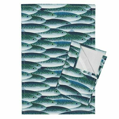 Fish Sea Ocean Sea Marine Life Fish Linen Cotton Tea Towels by Roostery Set of 2