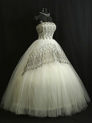 Vintage 1950's 50s STRAPLESS White Tulle Bronze Lace Prom Wedding Dress Gown