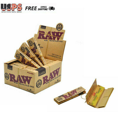 Box 24 Packs Raw CLASSIC KING SIZE Connoisseur Rolling Papers With Tips US STOCK