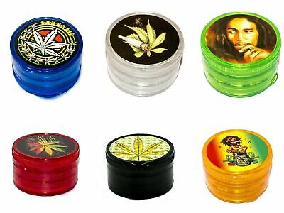 4 Piece Plastic Herb Tobacco Grinder Smoke Lid Crush Various Colours and Designs