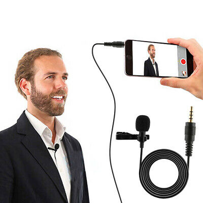3.5mm Clip On Lapel Tie Microphone Hands Free Wired Condenser Mini Lavalier Mic