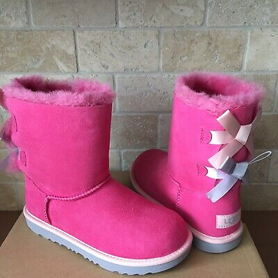 acb37e35ba6 UGG BAILEY BOW Bougainvillea Suede Boots Youth Girls Size Us 5/ Fit ...