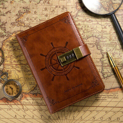 Carnet de notes Journal avec carnet de voyage Code Lock Classic Design Brown