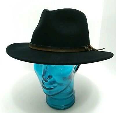 b79a746ce6d68 Country Gentleman Outback Fedora Cowboy Hat Black 100% Wool Lite Felt sz XL