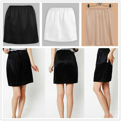 Women Satin Half Slip Underskirt Petticoat Under Dress Safety Skirt Mini Skirt