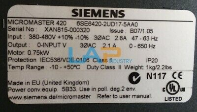 1PCS USED FOR Siemens Frequency converter 6SE6420-2UD17-5AA0