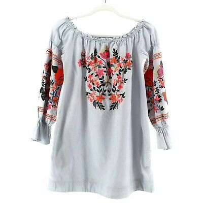 18977791accc Free People Fleur Du Jour Mini Dress Blue Size XS Embroidered Puff Sleeves