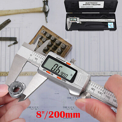 Vernier Caliper LCD Electronic Digital Gauge Stainless Micrometer 8 Inch/ 200mm