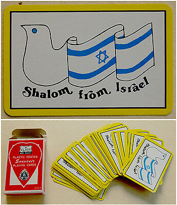 Judaica TWO DECK OF Jewish CARDS Hebrew ISRAEL FLAG Pigeon PEACE SHALOM DOVE
