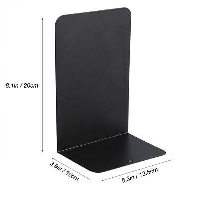 1 Pair of Black Metal Bookends Iron Support Holder Desk Stand For Books