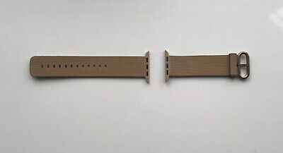 APPLE WATCH WOVEN NYLON BAND 42mm /44mm  TOASTED COFFEE / CARAMEL Gold Buckle