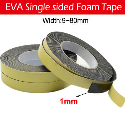 EVA Black Single Sided Foam Tape 1mm Thick Available in 9~80mm Width 10m long