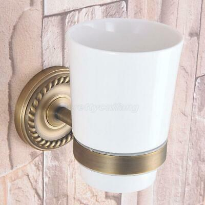 Antique Brass Wall Mounted Bathroom Toothbrush holder Ceramics Single Cup Holder