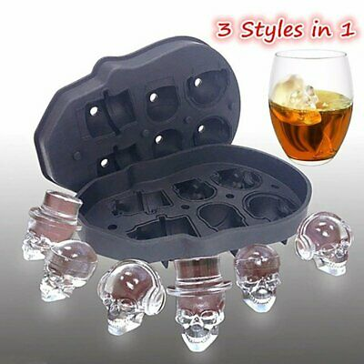 Whiskey Silicon Ice Cube Maker Mold Mould 3D Skull Tray Skeleton With Funnel AU