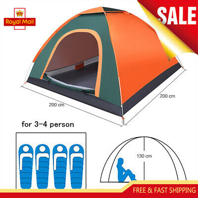3-4 Persons/Man Family Auto Pop Up Camping Tent Hiking Beach Canopy Festival New