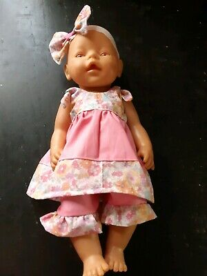 Homemade Baby Born Pink with Flowers Set and Headband