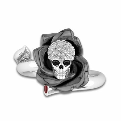 925 Sterling Silver Black Rose Skull Classic Cocktail Party Unique Design Ring