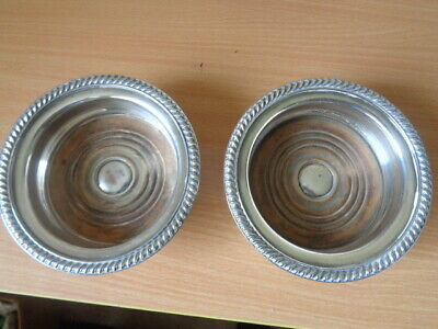 Pair Antique Silver Plate Bottle Coasters - Champagne/Wine 11Cms Diameter Inner