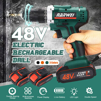 48V Cordless Drill Driver Rechargeable Battery Electric Drill Impact Screwdriver