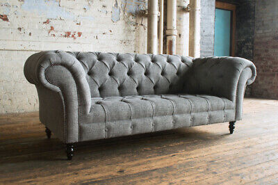 Modern Handmade 3 Seater Thick Iron Grey Linen Chesterfield Sofa Couch Chair