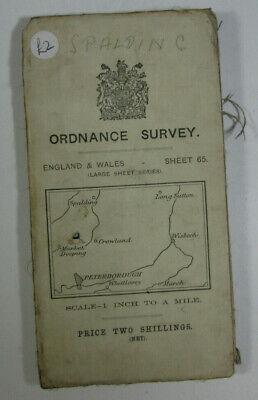 1912 Old OS Ordnance Survey One-Inch Third Edition Map 65 Peterborough & Wisbech