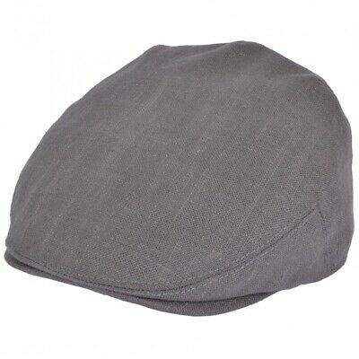G & H Grey Linen Cotton Summer Vintage Country Style Golf Flat Cap Hat