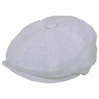 G & H White Summer Linen Cotton Mix 8 Panel Peaky Blinders Style Newsboy Cap Hat