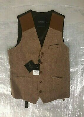 """Bnwt """" Topman """" Brown With Faux Leather Shoulders Waistcoat - Size 38"""" ! Rrp £36"""